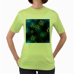 Seamless Bee Tile Cartoon Tilable Design Women s Green T-Shirt