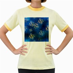 Seamless Bee Tile Cartoon Tilable Design Women s Fitted Ringer T Shirts