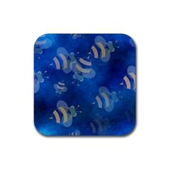 Seamless Bee Tile Cartoon Tilable Design Rubber Coaster (square)