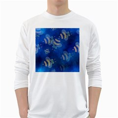 Seamless Bee Tile Cartoon Tilable Design White Long Sleeve T-Shirts