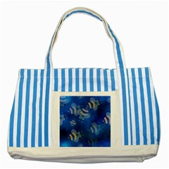 Seamless Bee Tile Cartoon Tilable Design Striped Blue Tote Bag