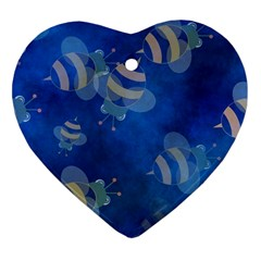Seamless Bee Tile Cartoon Tilable Design Heart Ornament (Two Sides)