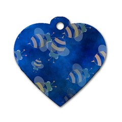 Seamless Bee Tile Cartoon Tilable Design Dog Tag Heart (One Side)