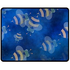 Seamless Bee Tile Cartoon Tilable Design Fleece Blanket (Medium)
