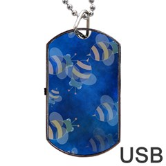Seamless Bee Tile Cartoon Tilable Design Dog Tag USB Flash (Two Sides)