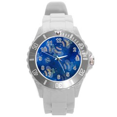 Seamless Bee Tile Cartoon Tilable Design Round Plastic Sport Watch (L)