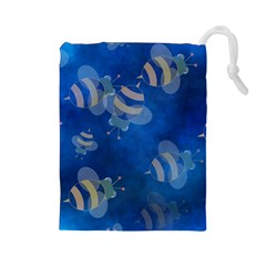 Seamless Bee Tile Cartoon Tilable Design Drawstring Pouches (Large)