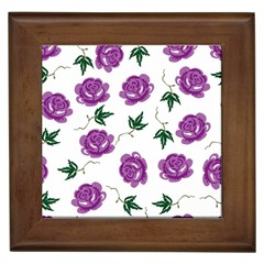 Purple Roses Pattern Wallpaper Background Seamless Design Illustration Framed Tiles