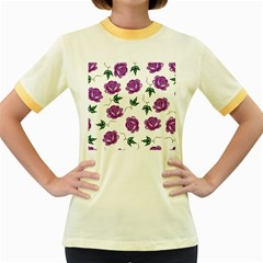 Purple Roses Pattern Wallpaper Background Seamless Design Illustration Women s Fitted Ringer T-Shirts