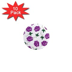 Purple Roses Pattern Wallpaper Background Seamless Design Illustration 1  Mini Magnet (10 pack)