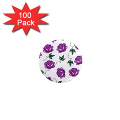 Purple Roses Pattern Wallpaper Background Seamless Design Illustration 1  Mini Magnets (100 Pack)