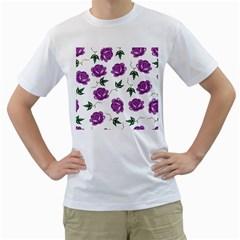 Purple Roses Pattern Wallpaper Background Seamless Design Illustration Men s T-Shirt (White) (Two Sided)