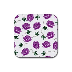 Purple Roses Pattern Wallpaper Background Seamless Design Illustration Rubber Coaster (square)