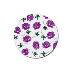 Purple Roses Pattern Wallpaper Background Seamless Design Illustration Rubber Round Coaster (4 Pack)