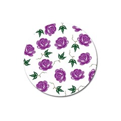 Purple Roses Pattern Wallpaper Background Seamless Design Illustration Magnet 3  (Round)