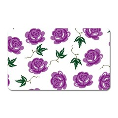 Purple Roses Pattern Wallpaper Background Seamless Design Illustration Magnet (Rectangular)
