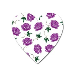Purple Roses Pattern Wallpaper Background Seamless Design Illustration Heart Magnet