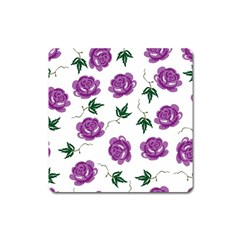Purple Roses Pattern Wallpaper Background Seamless Design Illustration Square Magnet