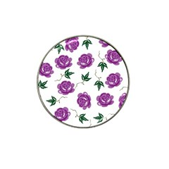 Purple Roses Pattern Wallpaper Background Seamless Design Illustration Hat Clip Ball Marker (10 pack)