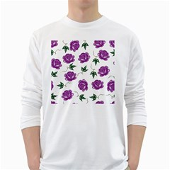 Purple Roses Pattern Wallpaper Background Seamless Design Illustration White Long Sleeve T-Shirts