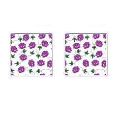 Purple Roses Pattern Wallpaper Background Seamless Design Illustration Cufflinks (Square)