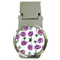 Purple Roses Pattern Wallpaper Background Seamless Design Illustration Money Clip Watches