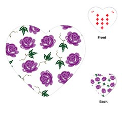 Purple Roses Pattern Wallpaper Background Seamless Design Illustration Playing Cards (Heart)