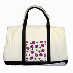 Purple Roses Pattern Wallpaper Background Seamless Design Illustration Two Tone Tote Bag
