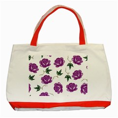 Purple Roses Pattern Wallpaper Background Seamless Design Illustration Classic Tote Bag (red)