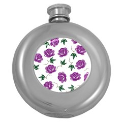 Purple Roses Pattern Wallpaper Background Seamless Design Illustration Round Hip Flask (5 Oz)