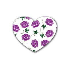 Purple Roses Pattern Wallpaper Background Seamless Design Illustration Rubber Coaster (heart)