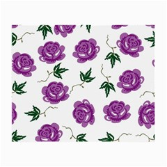 Purple Roses Pattern Wallpaper Background Seamless Design Illustration Small Glasses Cloth (2-Side)