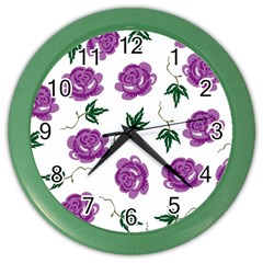 Purple Roses Pattern Wallpaper Background Seamless Design Illustration Color Wall Clocks