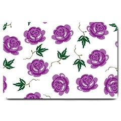 Purple Roses Pattern Wallpaper Background Seamless Design Illustration Large Doormat