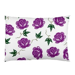 Purple Roses Pattern Wallpaper Background Seamless Design Illustration Pillow Case