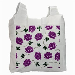 Purple Roses Pattern Wallpaper Background Seamless Design Illustration Recycle Bag (Two Side)