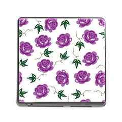 Purple Roses Pattern Wallpaper Background Seamless Design Illustration Memory Card Reader (Square)