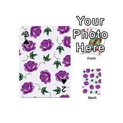 Purple Roses Pattern Wallpaper Background Seamless Design Illustration Playing Cards 54 (Mini)