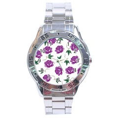 Purple Roses Pattern Wallpaper Background Seamless Design Illustration Stainless Steel Analogue Watch