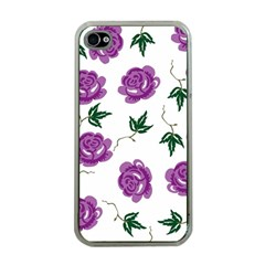 Purple Roses Pattern Wallpaper Background Seamless Design Illustration Apple iPhone 4 Case (Clear)