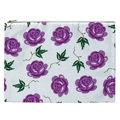 Purple Roses Pattern Wallpaper Background Seamless Design Illustration Cosmetic Bag (xxl)