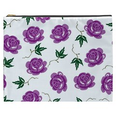 Purple Roses Pattern Wallpaper Background Seamless Design Illustration Cosmetic Bag (xxxl)