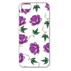 Purple Roses Pattern Wallpaper Background Seamless Design Illustration Apple Seamless Iphone 5 Case (clear)