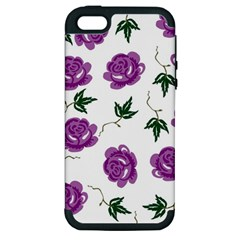 Purple Roses Pattern Wallpaper Background Seamless Design Illustration Apple iPhone 5 Hardshell Case (PC+Silicone)