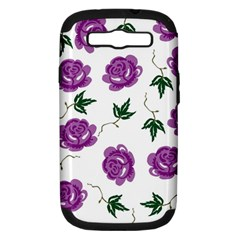 Purple Roses Pattern Wallpaper Background Seamless Design Illustration Samsung Galaxy S Iii Hardshell Case (pc+silicone)