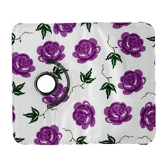 Purple Roses Pattern Wallpaper Background Seamless Design Illustration Galaxy S3 (Flip/Folio)