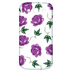 Purple Roses Pattern Wallpaper Background Seamless Design Illustration Samsung Galaxy S3 S Iii Classic Hardshell Back Case