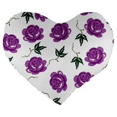 Purple Roses Pattern Wallpaper Background Seamless Design Illustration Large 19  Premium Heart Shape Cushions