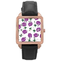 Purple Roses Pattern Wallpaper Background Seamless Design Illustration Rose Gold Leather Watch