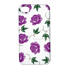 Purple Roses Pattern Wallpaper Background Seamless Design Illustration Apple iPhone 4/4S Hardshell Case with Stand